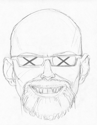 Graphite self-portrait drawn from memory. Series of one per day for a year.