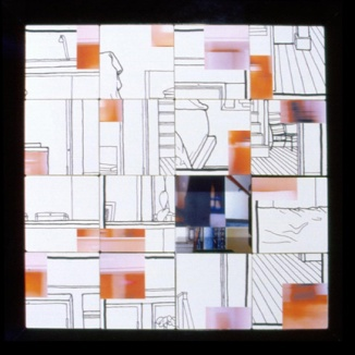 """working slide puzzle, mixed media, 22"""" X 22"""""""